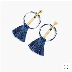 NWT J.Crew tassel drop-hoop earrings
